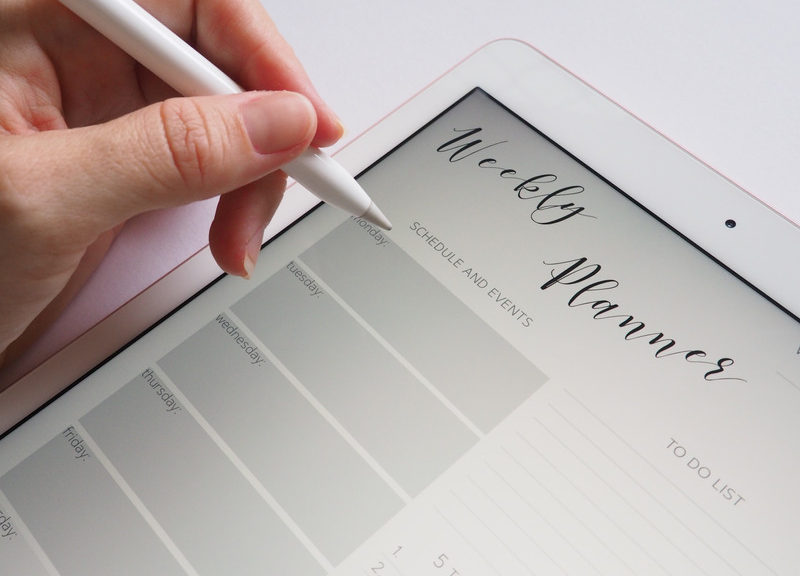 Person Holding A Stylus to Write on a Monthly Planner
