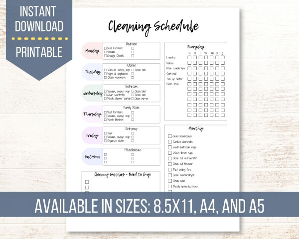 A one page daily, weekly, and monthly cleaning schedule that is sold by Lemonade Mindset on Etsy