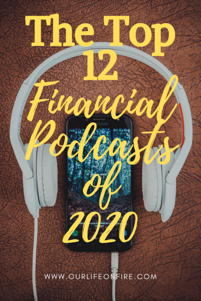 Top 12 Financial podcasts of 2020.  Headphones and phone