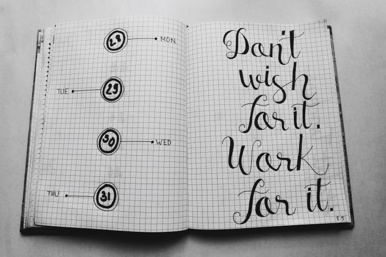 "Book: ""Don't wish for it. Work for it."""