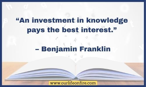 Open Book with Benjamin Franklin Quote