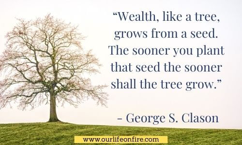 Tree in a field with a Motivational Finance Quote