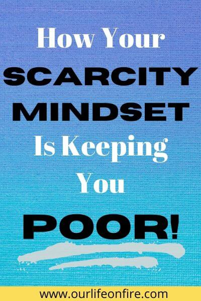 "Blue Background with ""How Your Scarcity Mindset Is Keeping You Poor"" written in the forefront."