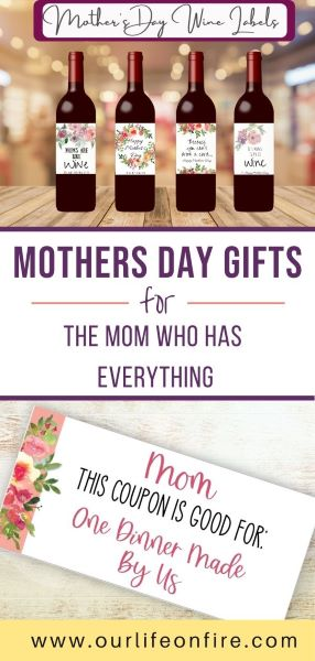 Mother's Day Gift Ideas including printable wine bottle labels and coupons for mom