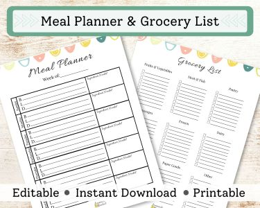 Etsy Ad for a Meal Planner and Grocery List Printable.