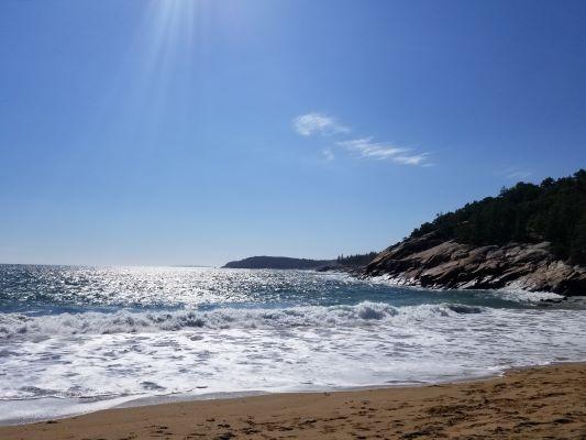 Sand Beach Acadia national Park - Blue Ocean on a sunny day
