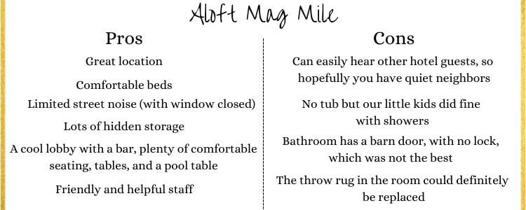A Pros/Cons List for Aloft Mag Mile Hotel In Chicago, Illinois