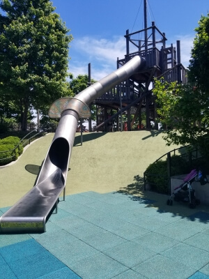 Maggie Daley Park and Playground in Chicago, IL - A large metal slide