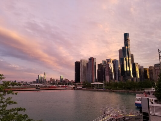 View of Chicago Skyline at Sunset from The Navy Pier