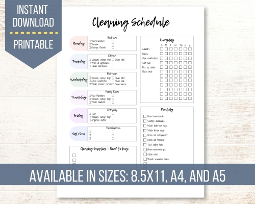 1 Page Daily, Weekly, and Monthly Cleaning Schedule