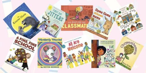 Books for Children's First Day of School laid out next to each other