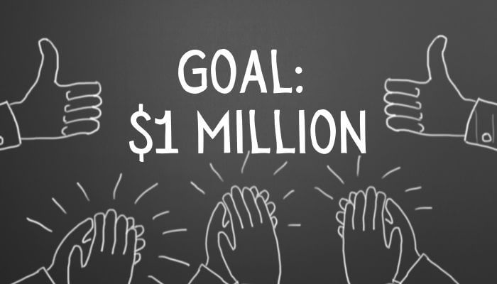 Black Background with drawings of hands giving thumbs up and clapping to celebrate reaching a goal of $1 Million