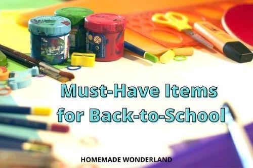 Various back to school items: pencils, paint, scissors, eraser