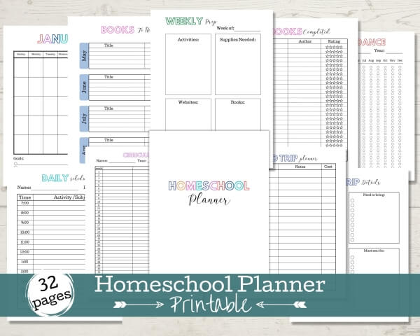 Etsy Listing for 32 Page Homeschool Planner - 10 pages of the planner shown