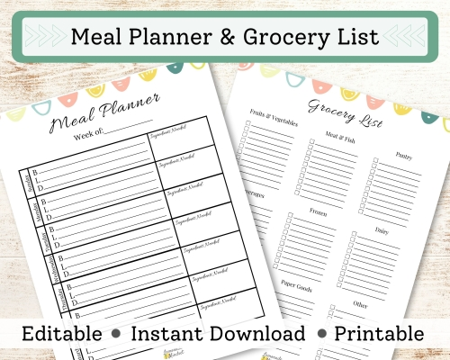 1 Page Meal Planner for each day of the week and 1 page grocery list