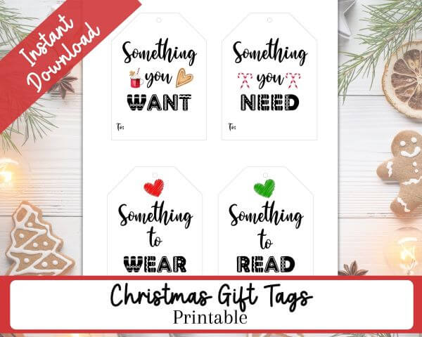Holiday background with white lights, gingerbread, and greenery.  Four Printable  Gift Tags for Kids