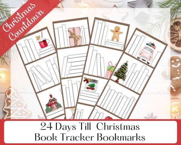 Four Printable Christmas Book Tracker Bookmarks to Countdown 24 Days Till Christmas