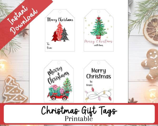 Four different Christmas Gift Tags - One tag with plaid trees, One tag with a Green Christmas Tree, One tag with a wagon filled with presents, One tag with holiday lights.