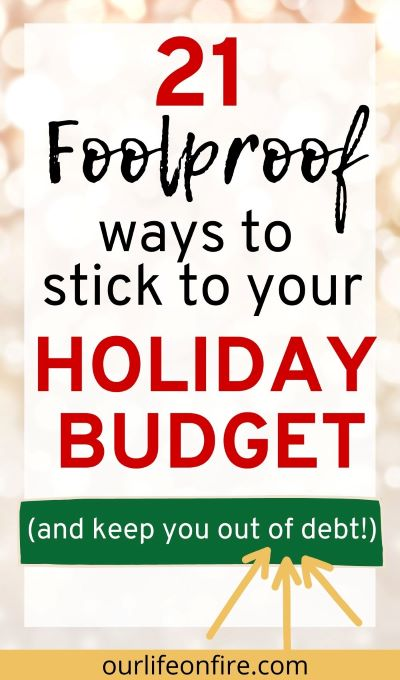 Holiday White lights in the background with text on top.  Arrows emphasizing staying out of debt for the Holidays
